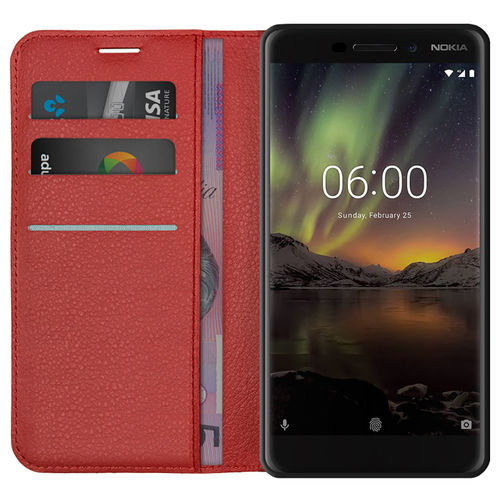 Leather Wallet Case & Card Holder Pouch for Nokia 6.1 (2018) - Red
